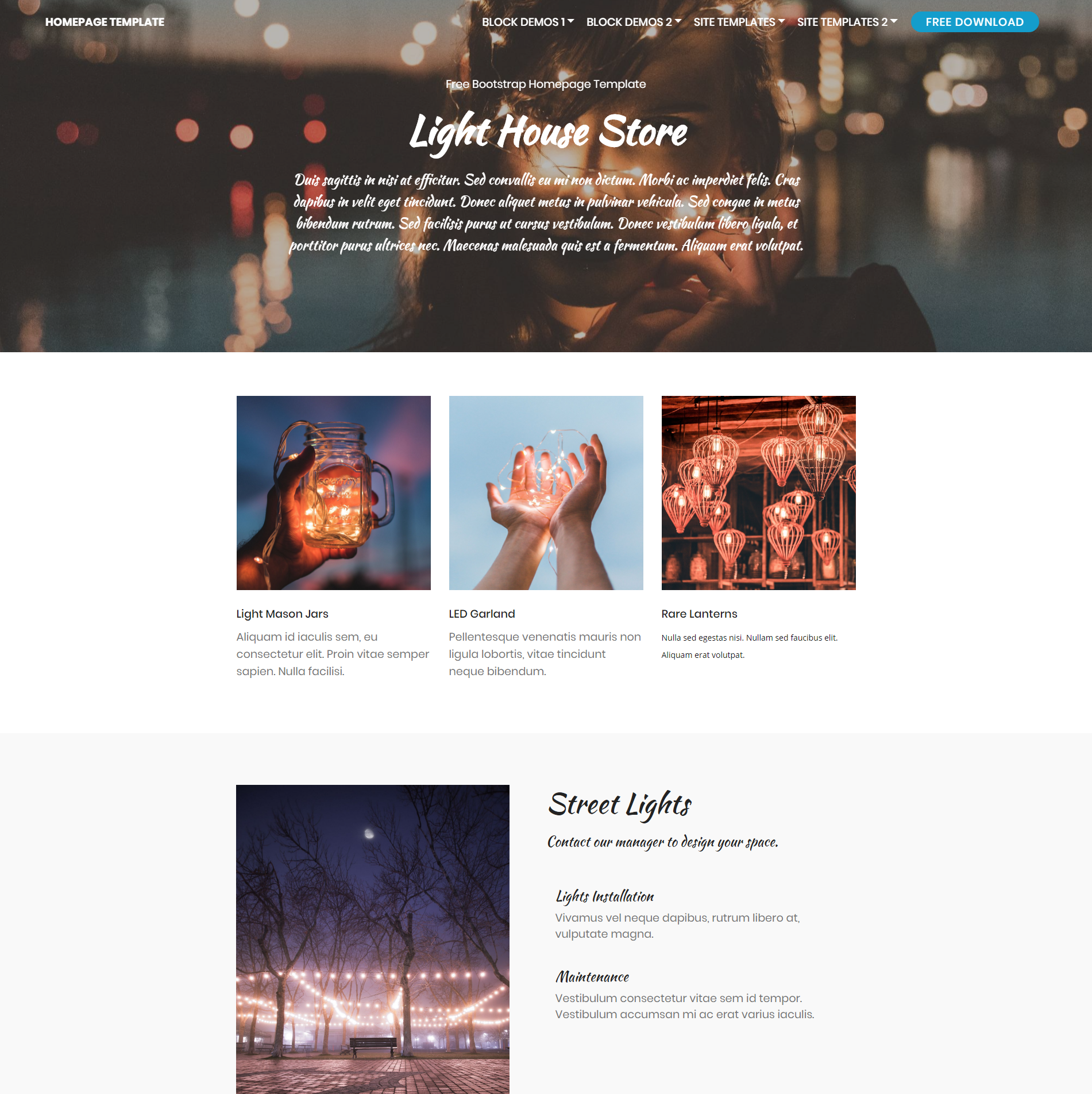 HTML5 Bootstrap Homepage Themes